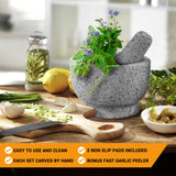 Solid Stone Mortar And Pestle Set