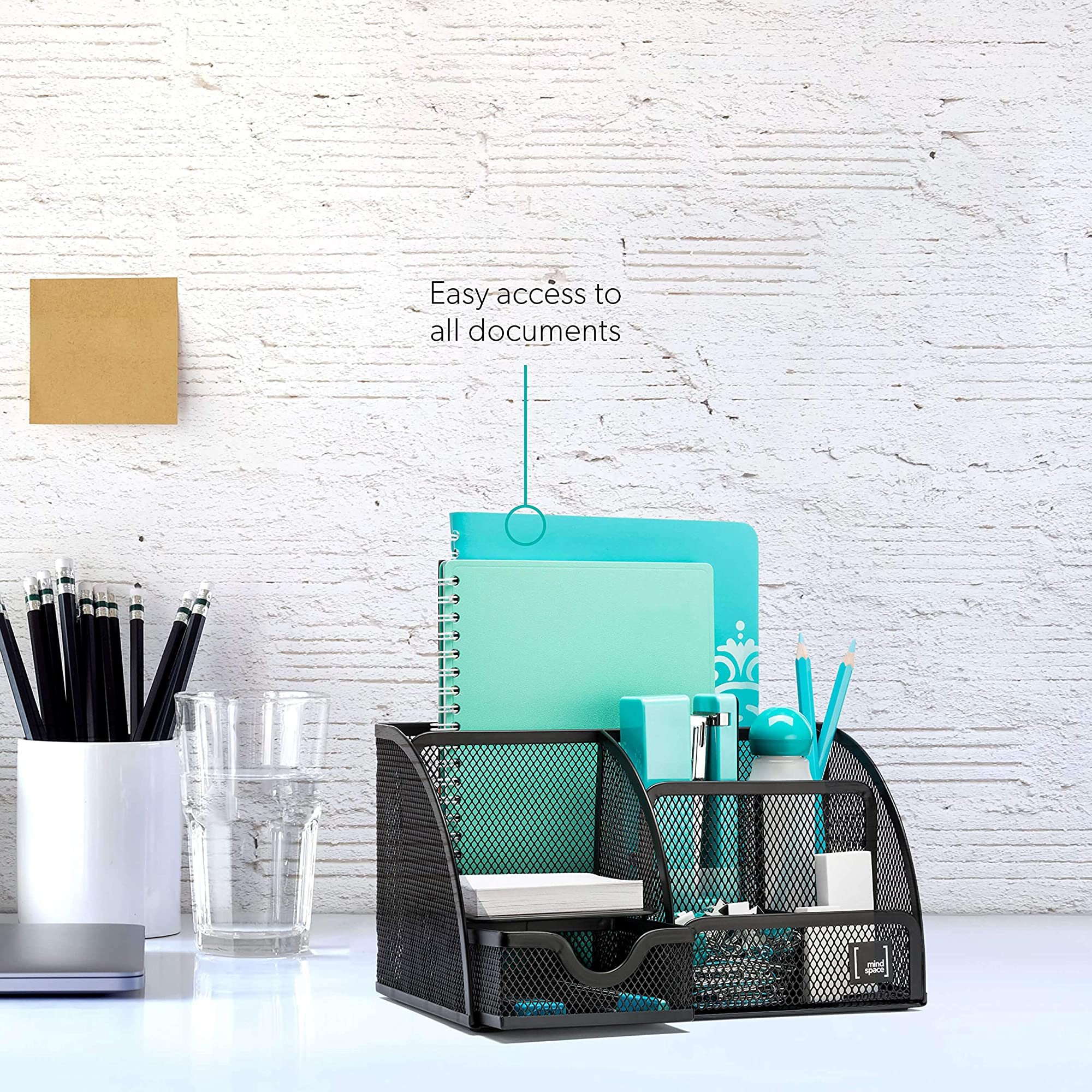 Office Desk Organizer With 6 Compartments + Drawer