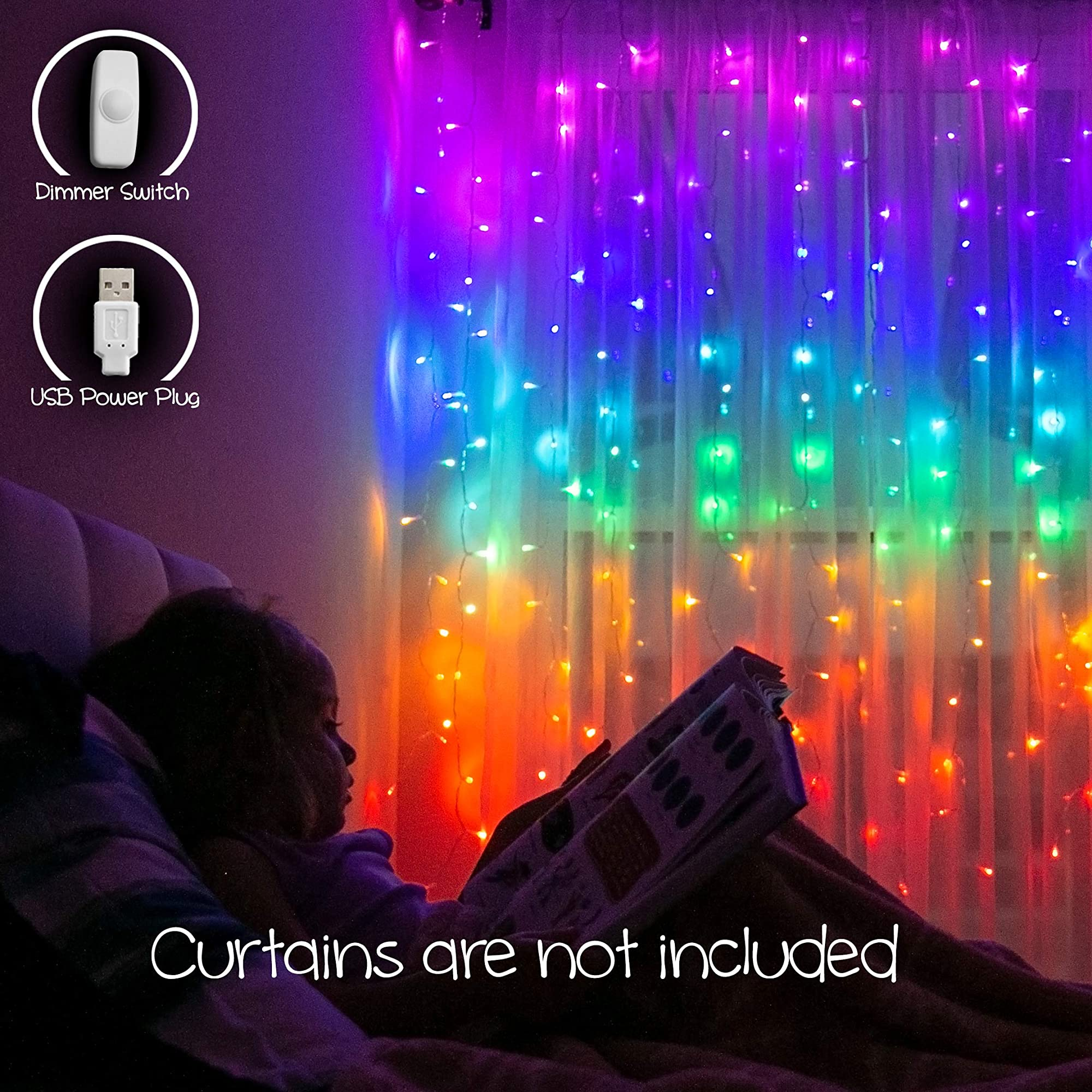 LED String Curtain Multicolor Lights With Dimmer Switch