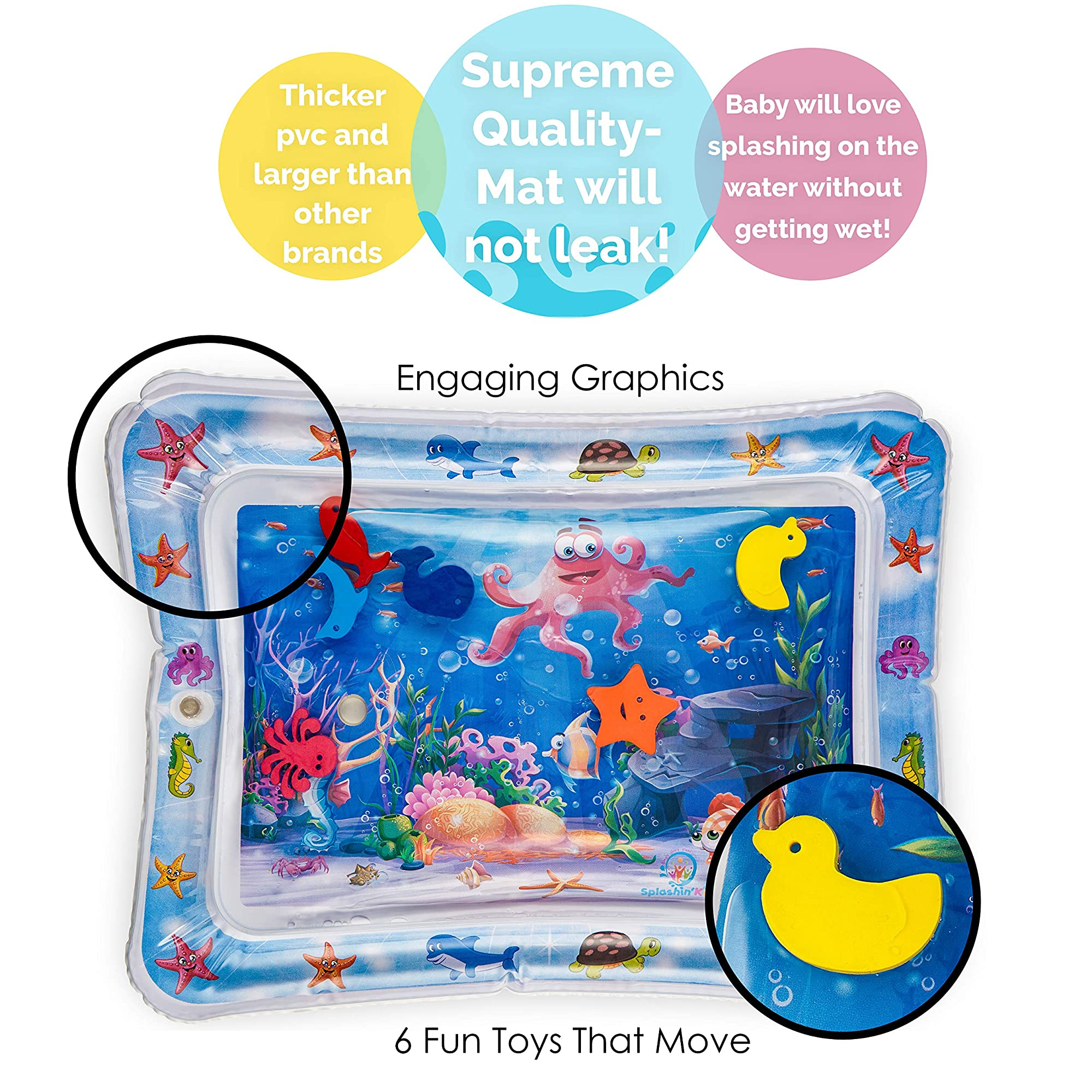 Inflatable Tummy Time Water Play Mat For Infants