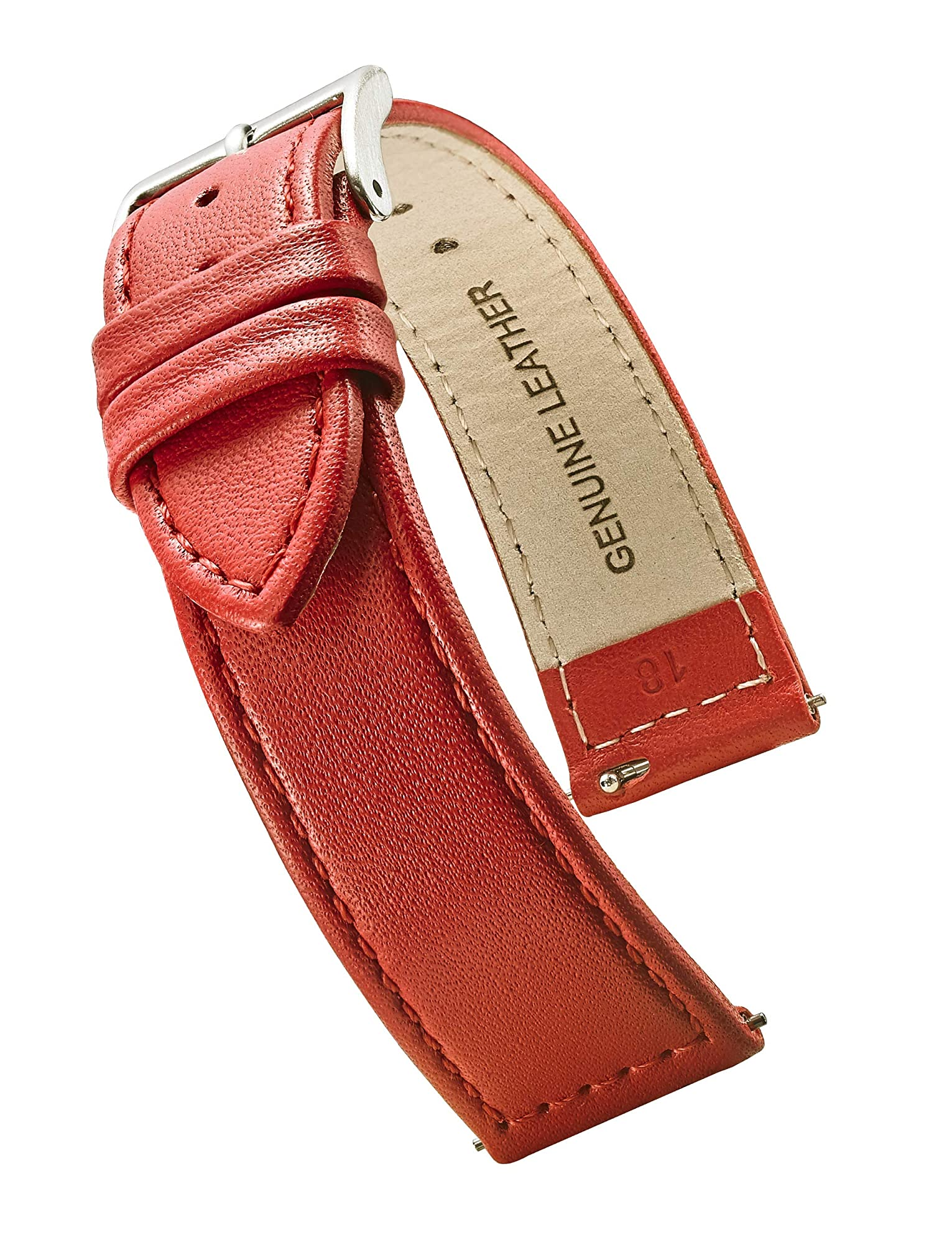 Flat Stitched Genuine Leather Watch Strap