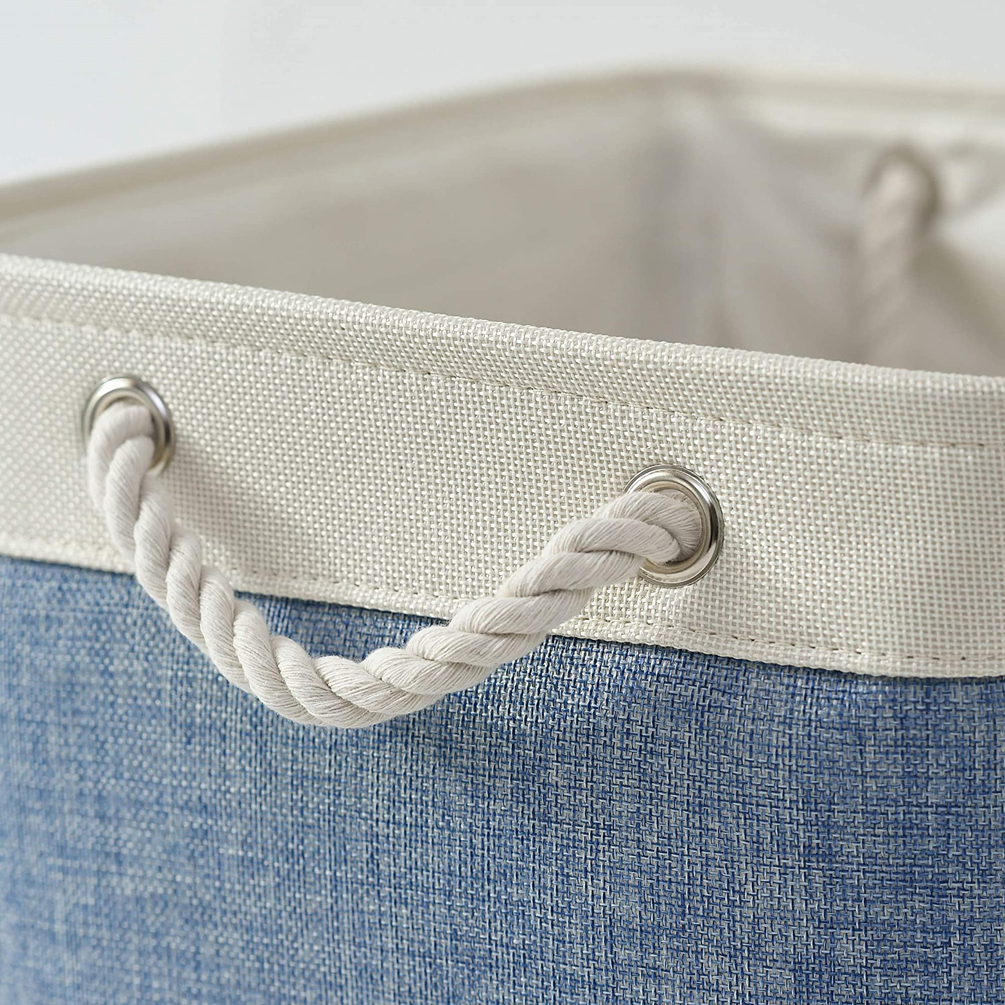 Collapsible Fabric Storage Basket With Rope Handles