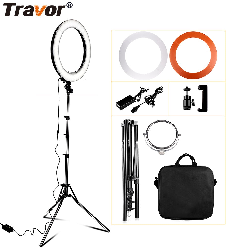 Dimmable photography ring light with carry bag 240pcs led beads inside 55w ringlight lamp for makeup & light tripod
