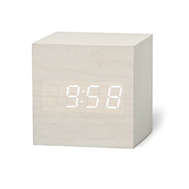 Digital Wooden LED Alarm Clock Glow Clock Voice Control Snooze Function