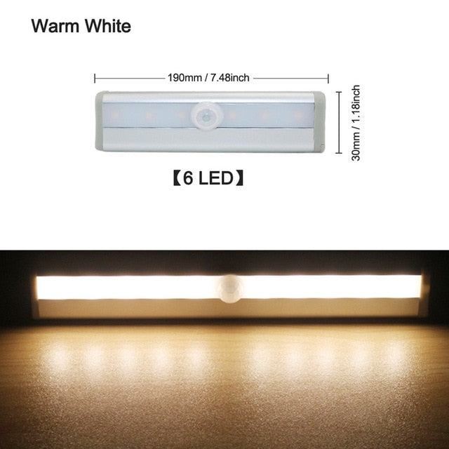 6/10 LEDs PIR LED Motion Sensor Light Cupboard Wardrobe Bed Lamp LED