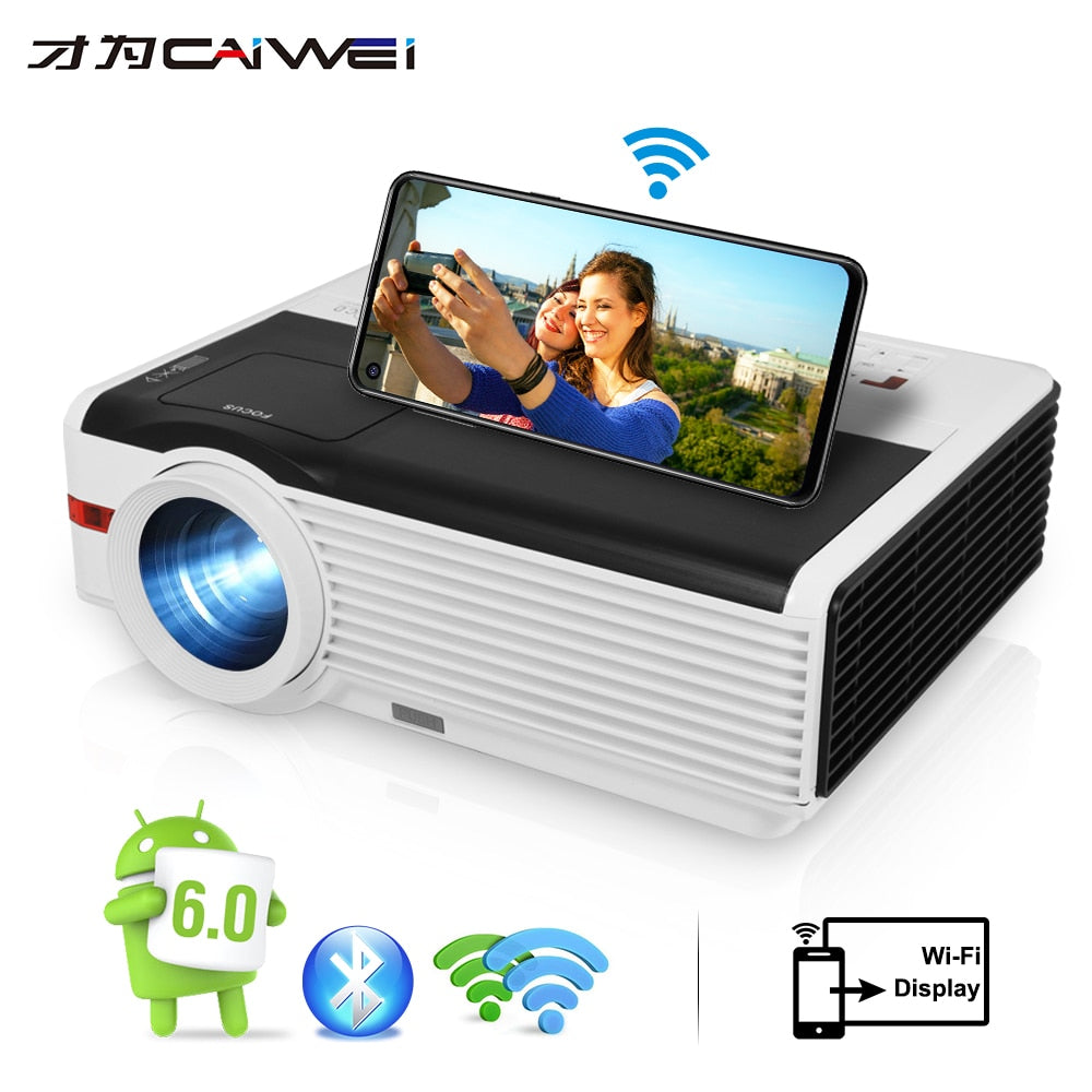 Caiwei LCD Projector 1080P A9 Android Video Projector Home Cinema