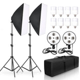 Photo Studio Video Photography Softbox Lightbox Kit 50x70CM Four Lamp Softbox  E27 Holder With 8pcs 20W Bulb Soft Box Accessorie