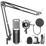 Neewer NW-800 Condenser Microphone (Black/Silver)Kit with USB Sound Card Adapter+Adjustable Suspension Scissor Arm Stand