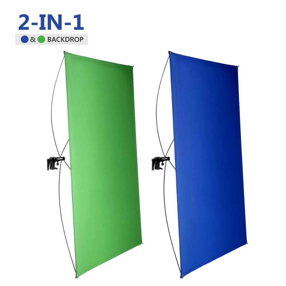 Neewer 90x180CM Portable 2-in-1 Chromakey Blue/Green Backdrop Screen with 4 Flexible Rods/Bracket/Bag for Studio
