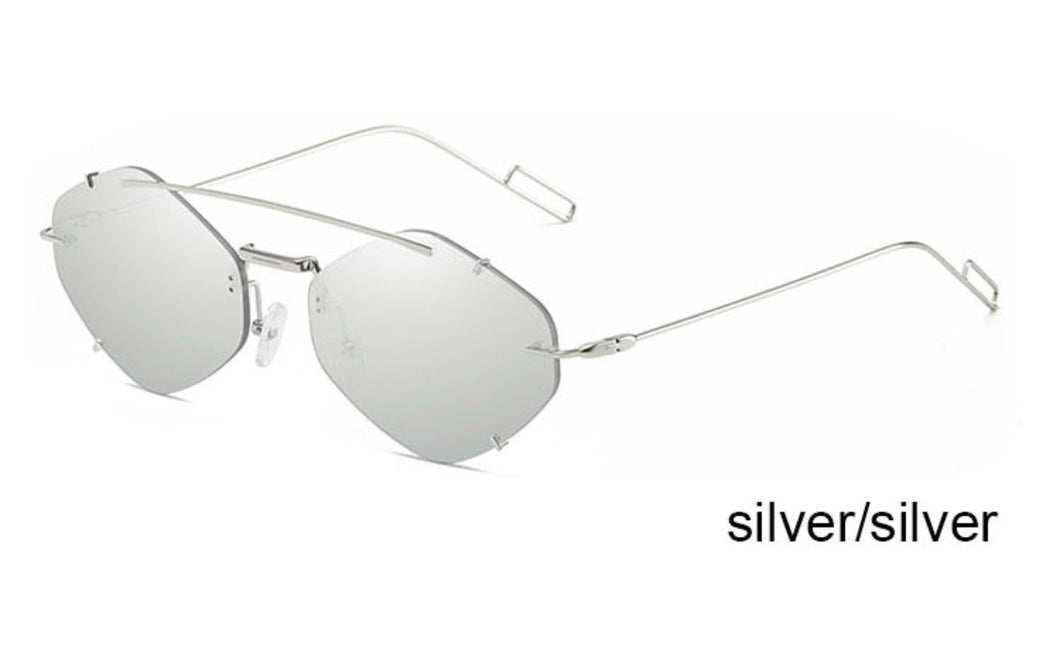 Steampunk Polygon Metal Frame Sunglasses Zilver / Zilver - LASIDORE Beauty Bar