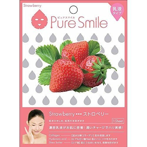 Puresmile, Milky Essence Facial Mask Sheet, Strawberry