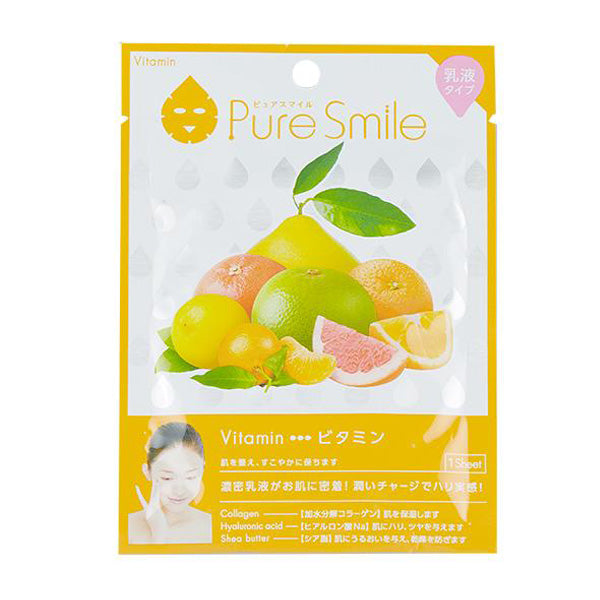 SUNSMILE PURESMILE, MILKY ESSENCE FACIAL MASK SHEET, VITAMIN, FRUITS EXTRACTS