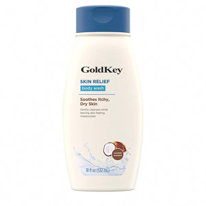 GoldKey Bath Lotion Skin Relief Body Wash with Coconut Scent & Soothing Oat, Gentle Soap-Free Body Cleanser for Dry, Itchy & Sensitive Skin, Dye-Free & Allergy-Tested, 18 fl. oz