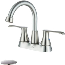 Load image into Gallery viewer, Qsky  Double-Handle Laundry Faucet with Brass Swing Spout and Hose End, Chrome