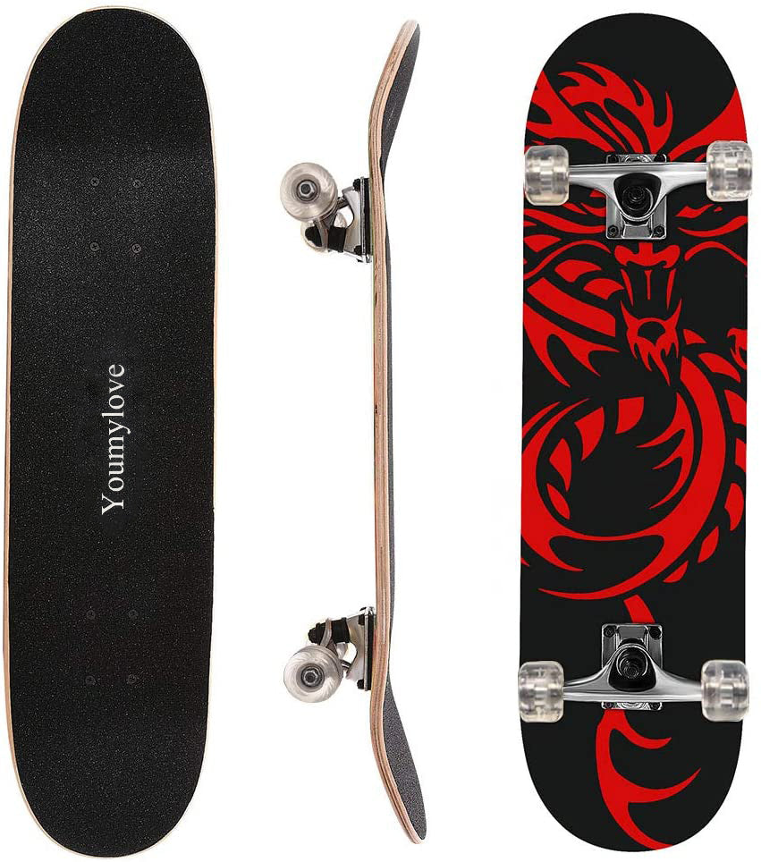 Youmylove 31 inch Skateboard Complete Longboard Double Kick Skate Board Cruiser 8 Layer Maple Deck for Extreme Sports and Outdoors