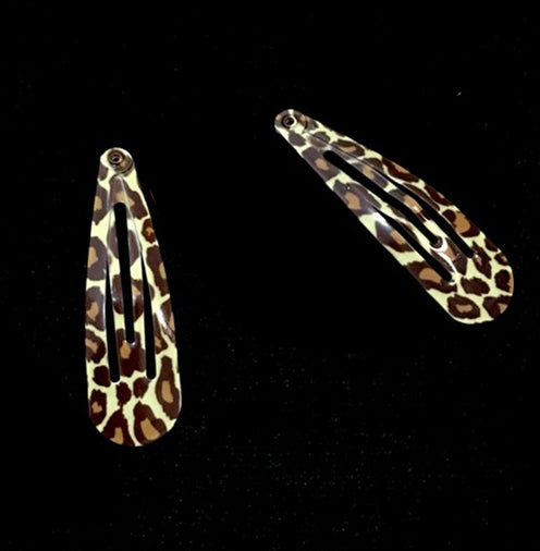 GUART 2pcs Women Girls Fashion Leopard Snap Barrettes Hollow Design Hair Clips