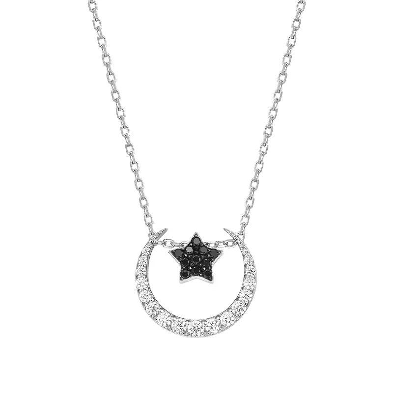 genkigold Sterling Silver Moon Necklace Cubic Zirconia Crescent Moon Star Phase Pendant Necklace Dainty 18