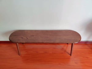 KEPOOMAN Dark Brown Transitional Style Mango Wood Bench with Block Leg Support