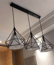 Load image into Gallery viewer, YIKOLUZ Industrial Black 3-Light Pendant Lighting Modern Farmhouse Ceiling Hanging Light Fixture with Metal Diamond Shape