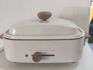 APLND electric roaster with lid, 3L roaster with removable insert pot, temperature control and cool-touch handles, white