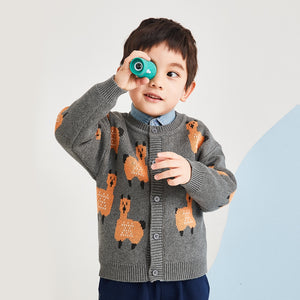 wendunide Baby Boys Girls Print Sweater Coat, Long Sleeve Button-up Knitted Cardigan Casual Tops for Autumn & Winter