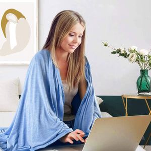 cheehigo Lap Blankets -  40 x 60 Inches Super Soft Lightweight Breathable Pad for Sofa Couch Bed Office Travel with Storage Bag Clip Blue