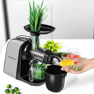 Givepower Electric juicer,  Easy to Clean, Tritan & BPA-Free, Anti-Drip and 5 Mode Adjustment, Cold Press Juicer with Quiet Motor