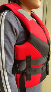 JNRSAFE Life Vest, Water Sports Adult Life Jackets,Red
