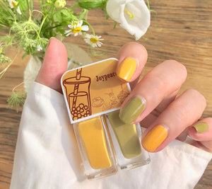 Joypeace Nail Polish,  Green / Yellow Nail Polish, Two pack,Fast drying, lasting and whitening