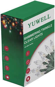 YUWELL 100 Counts Clear Christmas String Lights, 20.5 Ft Warm Mini Lights for Christmas Tree Indoor Outdoor Patio Wreath Garden Decorations, Green Wire