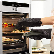 Load image into Gallery viewer, Qstar Grilling Gloves, Heat Resistant Gloves BBQ Kitchen Silicone Oven Mitts, Long Waterproof Non-Slip Potholder for Barbecue, Cooking, Baking