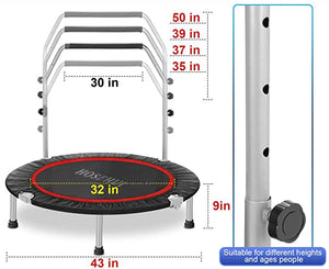 HOSEHUI 43'' Silent Foldable Trampoline,  Mini Trampoline for Kids Adults Indoor/Garden Max Load 400lbs