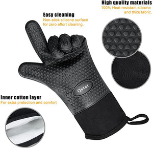 Qstar Grilling Gloves, Heat Resistant Gloves BBQ Kitchen Silicone Oven Mitts, Long Waterproof Non-Slip Potholder for Barbecue, Cooking, Baking