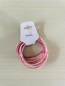 Cinaci Rubber Bands for Hair, 10 PCS, High Stretch Rubber, No Metal, No Damage Hair, Suitable for Medium Long Hair (Pink)