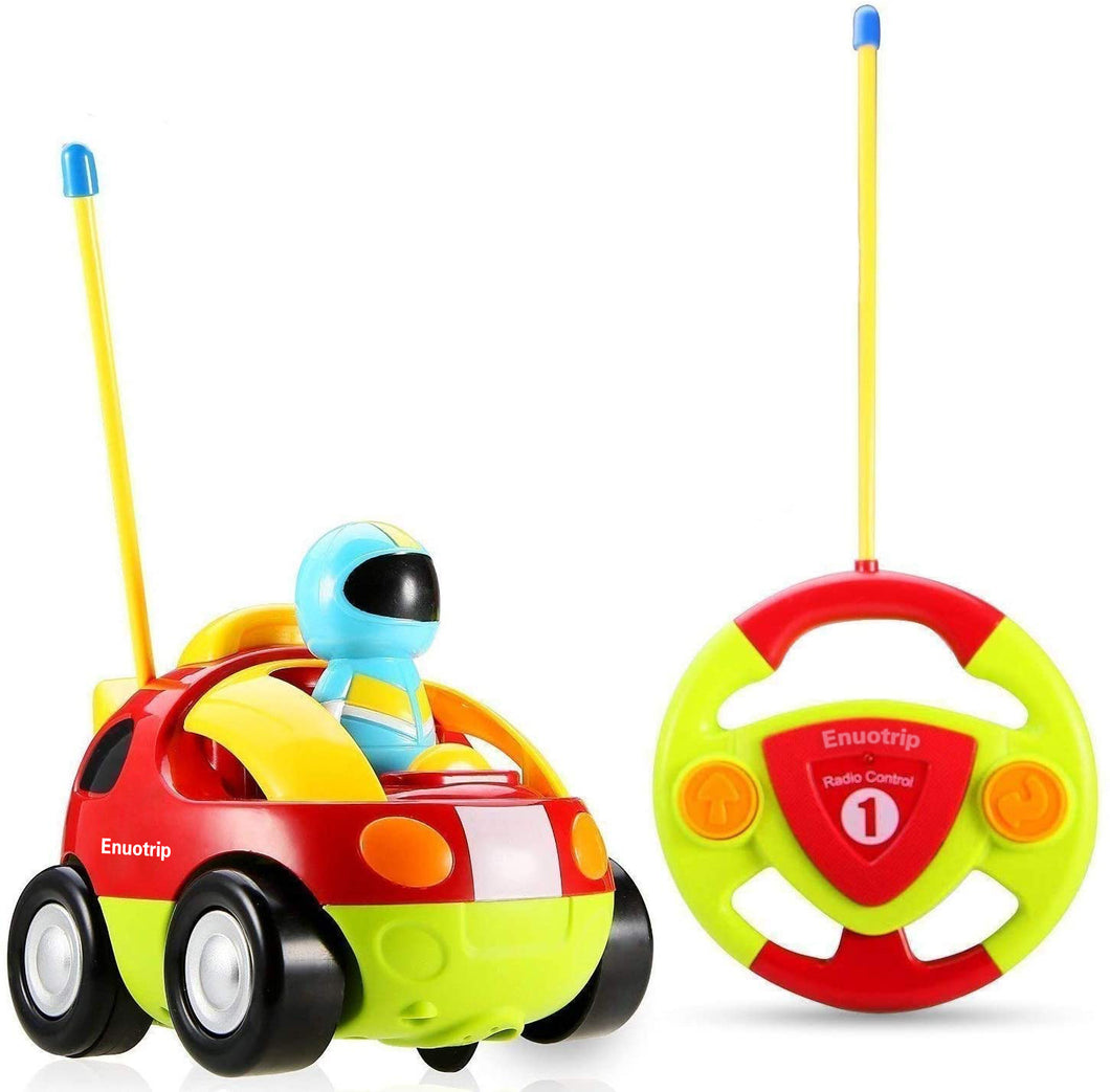 Enuotrip RC Cartoon Race Car with Music Button and LED Headlights  Great Gift Racing Action Figure Radio Control Toy for Kids