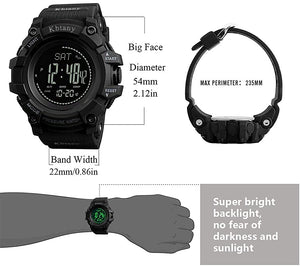 Kbtany Mens Outdoor Sports Army Watches Pedometer Calories Digital Watch Altimeter Barometer Compass Thermometer Weather Men Watch (Black)