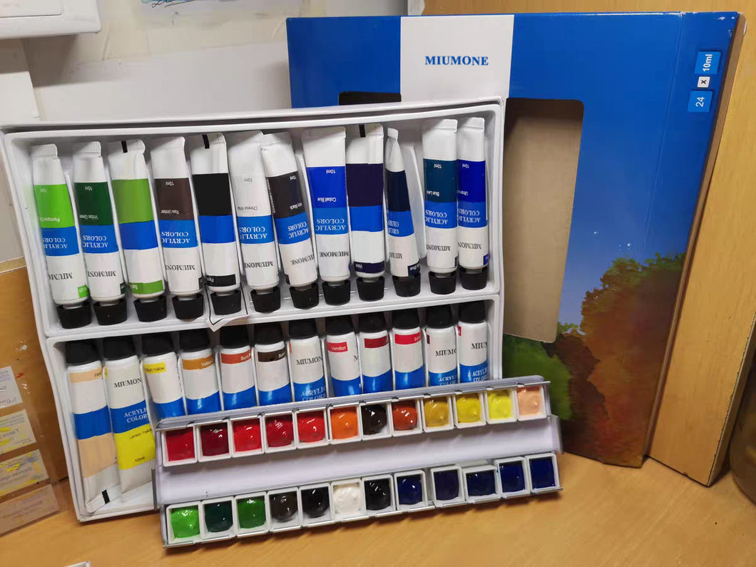 MIUMONE Watercolor Paints, Acrylic Paint Set, Non Toxic 24 Colors (24 x 10ml)