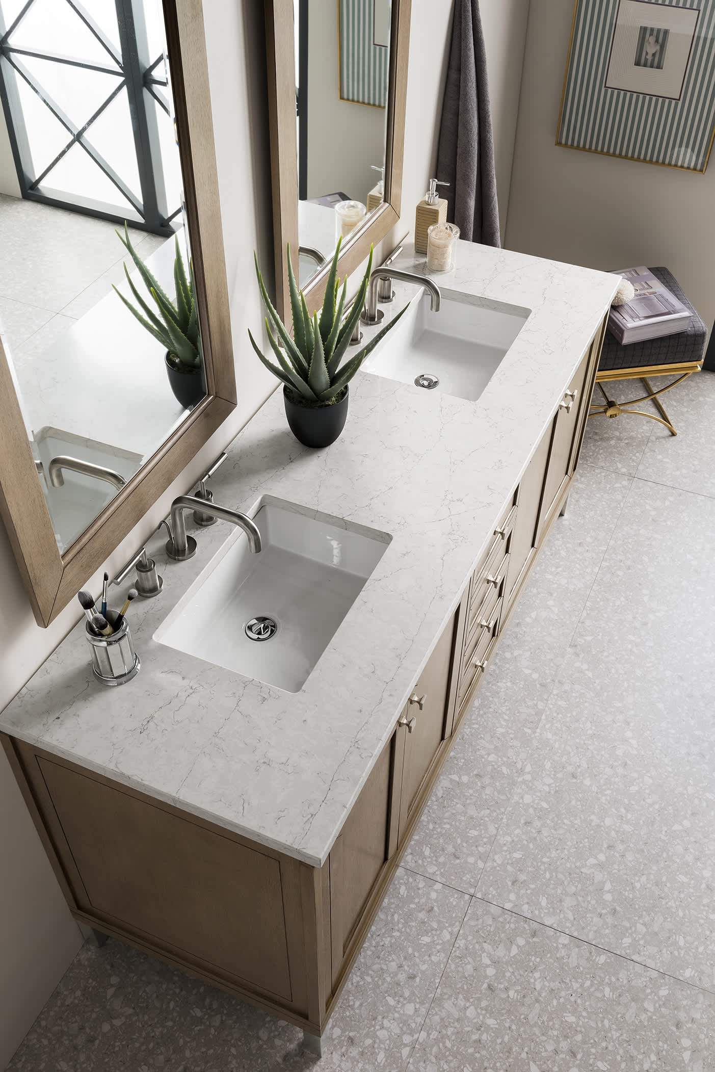"Chicago 72"" Double Vanity Whitewashed Walnut, with Eternal Jasmine Pearl Quartz Top with Sink"
