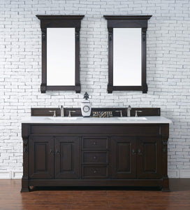 "Brookfield 72"" Burnished Mahogany Double Vanity with Classic White Quartz Top with Sink"