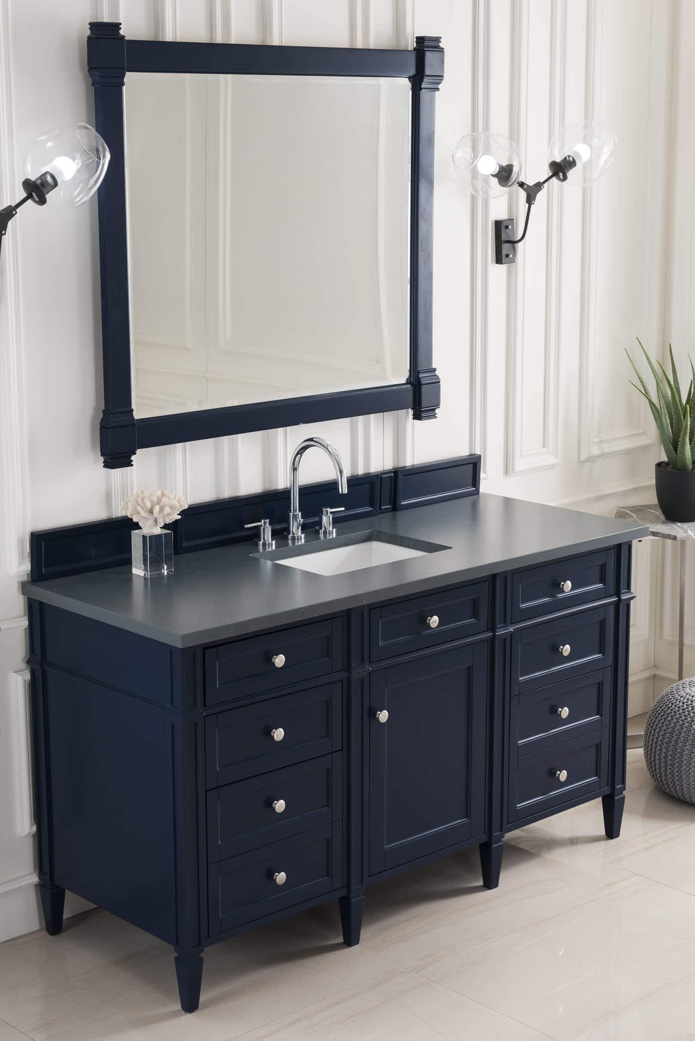 "Brittany 60"" Victory Blue Single Vanity with Charcoal Soapstone Quartz Top with Sink"
