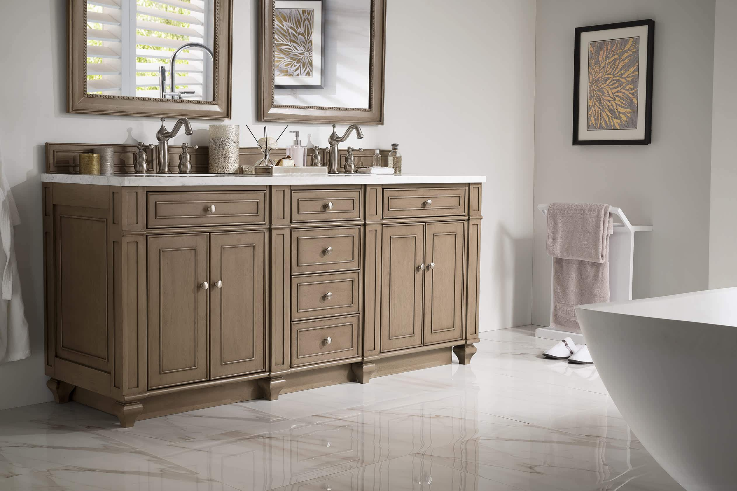 "Bristol 72"" Double Vanity Whitewashed Walnut with Arctic Fall Solid Surface Top"