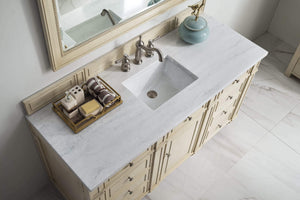 "Bristol 60"" Single Vanity, Vintage Vanilla with Arctic Fall Solid Surface Top"
