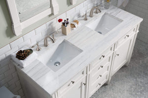 "Brittany 60"" Cottage White Double Vanity with Arctic Fall Solid Surface Top"