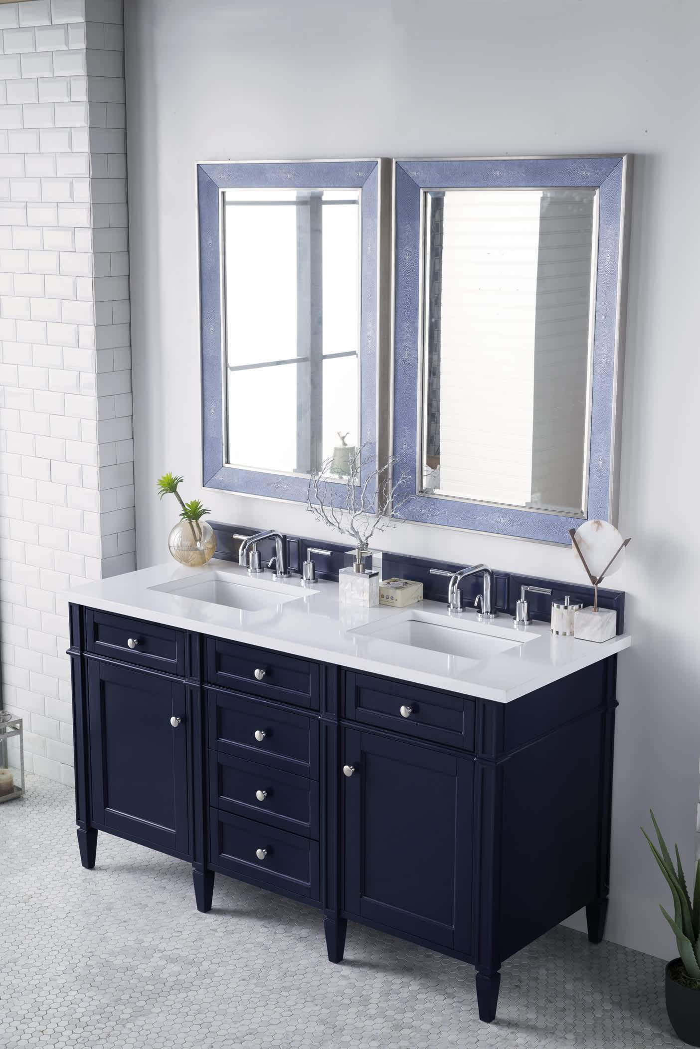 "Brittany 60"" Victory Blue Double Vanity with Classic White Quartz Top with Sink"