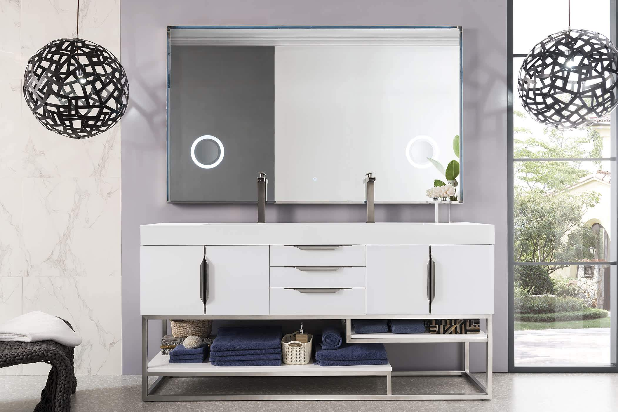 "Columbia 72"" Double Vanity, Glossy White with Glossy White Solid Surface Top"