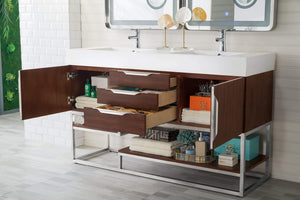 "Columbia 59"" Double Vanity, Coffee Oak with Glossy White Solid Surface Top"