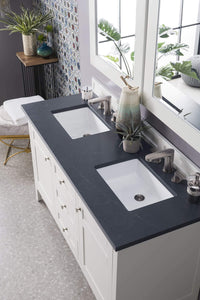"Palisades 60"" Double Vanity, Bright White, with Charcoal Soapstone Quartz Top with Sink"
