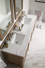 "Load image into Gallery viewer, Bristol 72"" Double Vanity Whitewashed Walnut with Arctic Fall Solid Surface Top"
