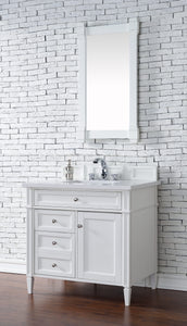 "Brittany 36"" Cottage White Single Vanity with Classic White Quartz Top with Sink"