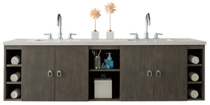 "Sonoma 72"" Double Vanity, Silver Oak with Arctic Fall Solid Surface Top"